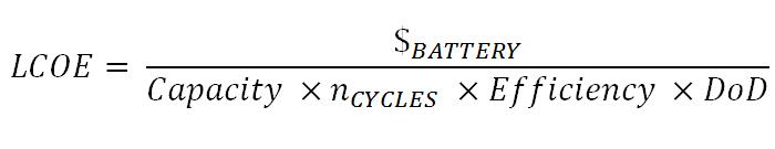Levelized Cost of Energy formula